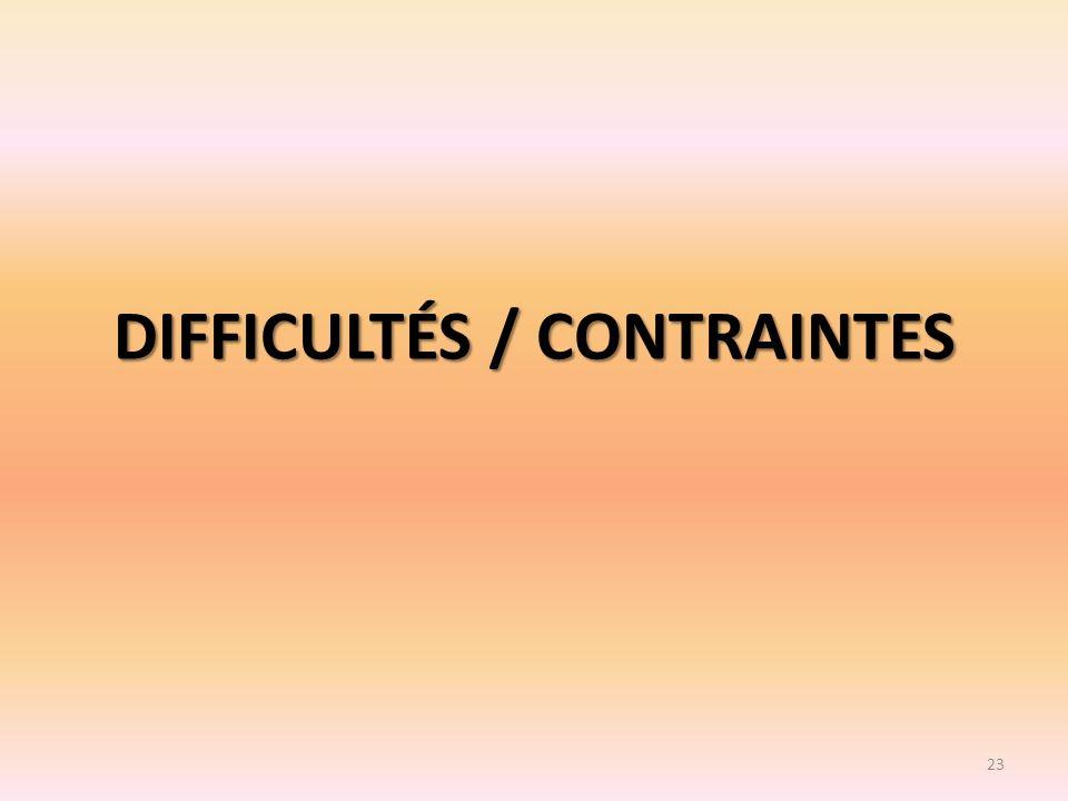 DIFFICULTÉS / CONTRAINTES