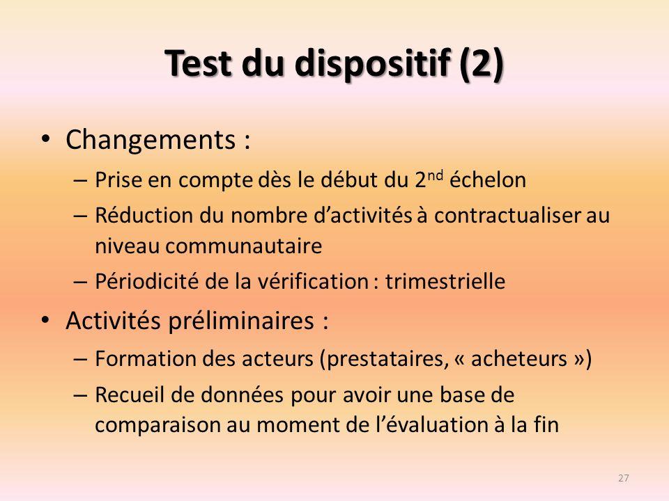 Test du dispositif (2) Changements : Activités préliminaires :