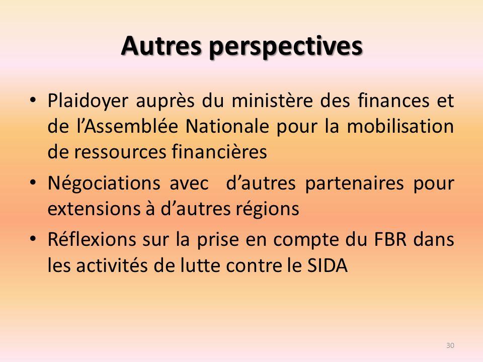 Autres perspectives Plaidoyer auprès du ministère des finances et de l'Assemblée Nationale pour la mobilisation de ressources financières.