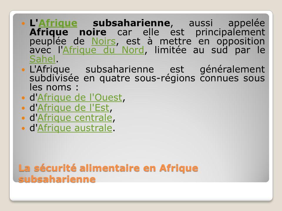 La sécurité alimentaire en Afrique subsaharienne