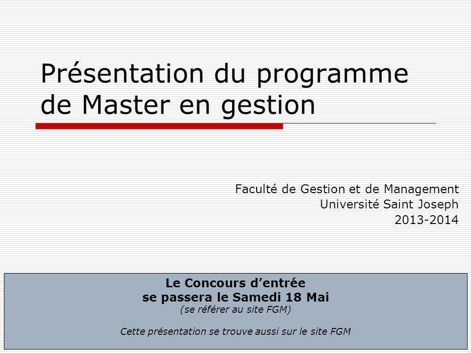 Présentation du programme de Master en gestion