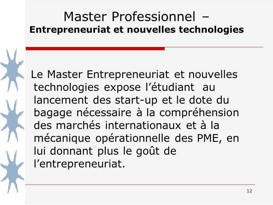 Master Professionnel – Entrepreneuriat et nouvelles technologies