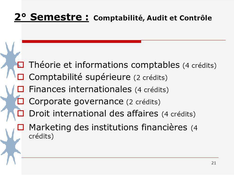 2° Semestre : Comptabilité, Audit et Contrôle