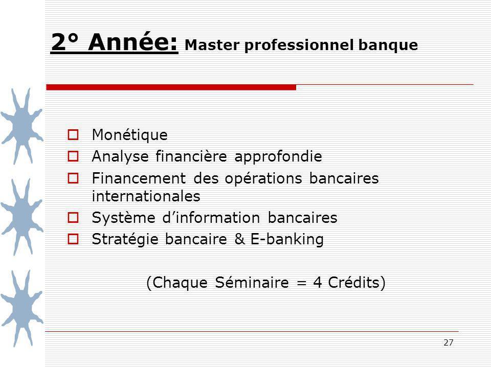2° Année: Master professionnel banque