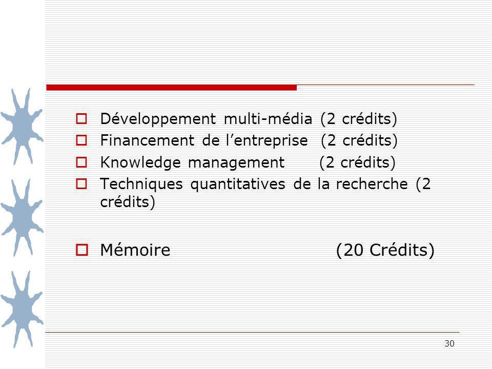 Mémoire (20 Crédits) Développement multi-média (2 crédits)