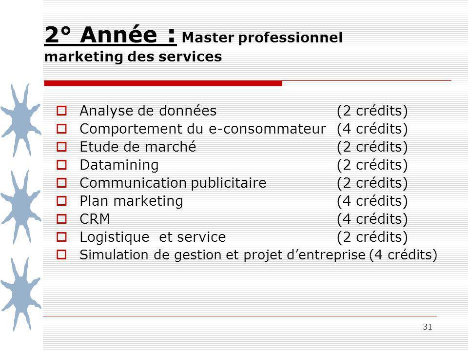 2° Année : Master professionnel marketing des services