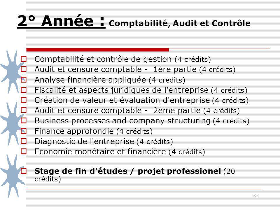 2° Année : Comptabilité, Audit et Contrôle