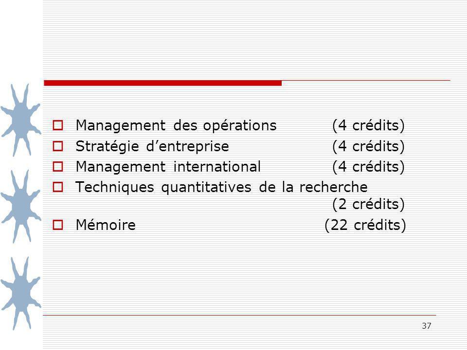 Management des opérations (4 crédits)