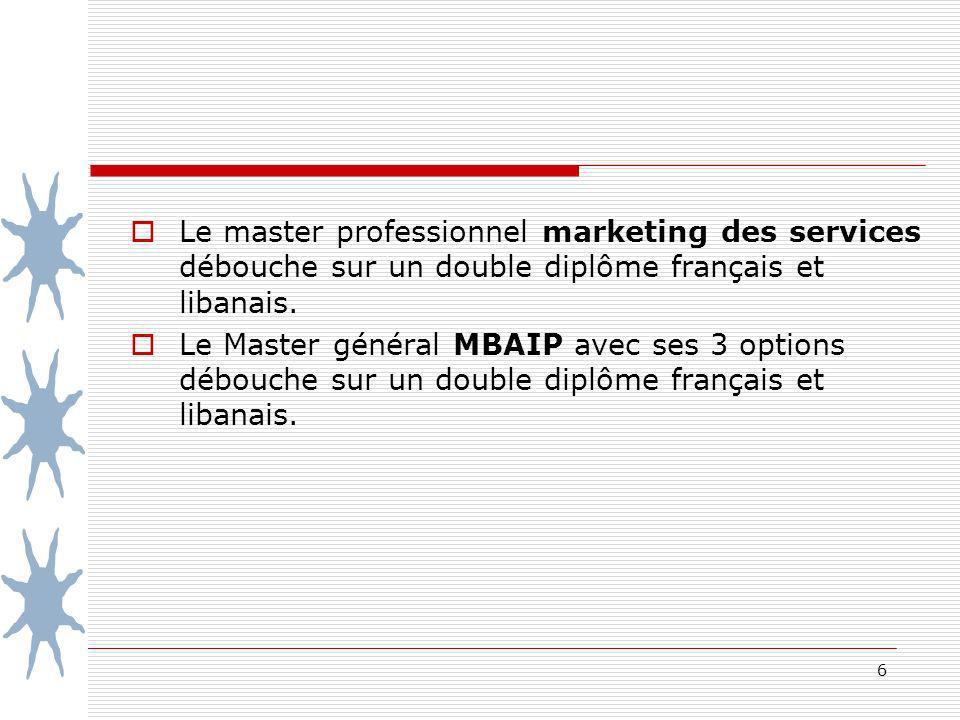 Le master professionnel marketing des services débouche sur un double diplôme français et libanais.