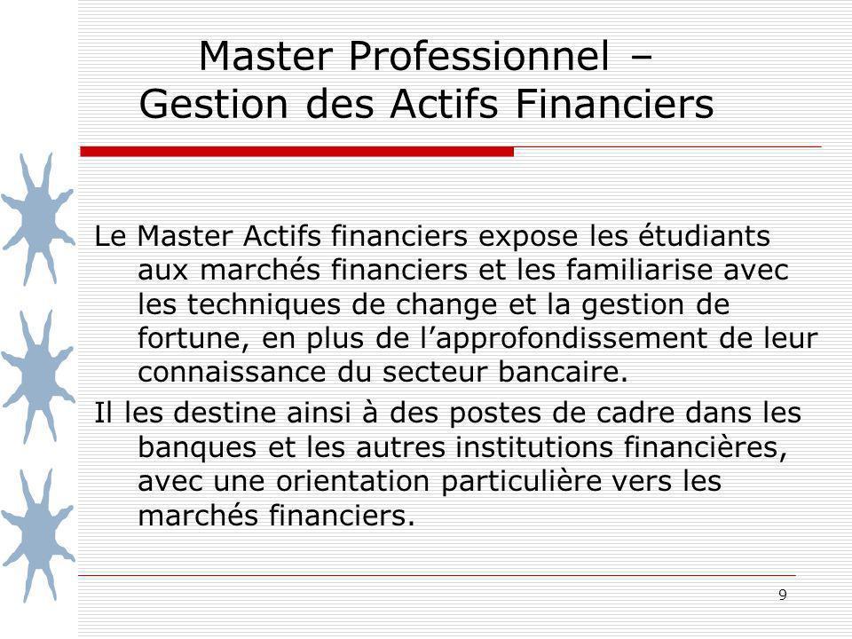 Master Professionnel – Gestion des Actifs Financiers