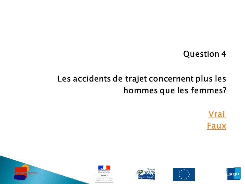 Question 4 Les accidents de trajet concernent plus les hommes que les femmes Vrai Faux