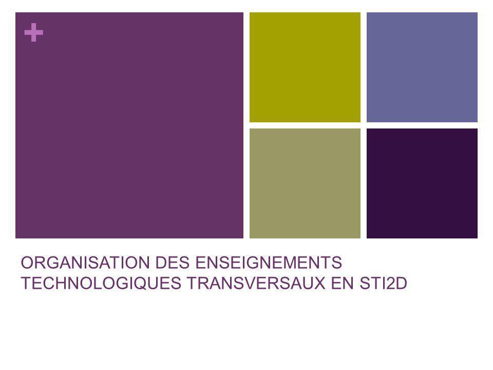 ORGANISATION DES ENSEIGNEMENTS TECHNOLOGIQUES TRANSVERSAUX EN STI2D