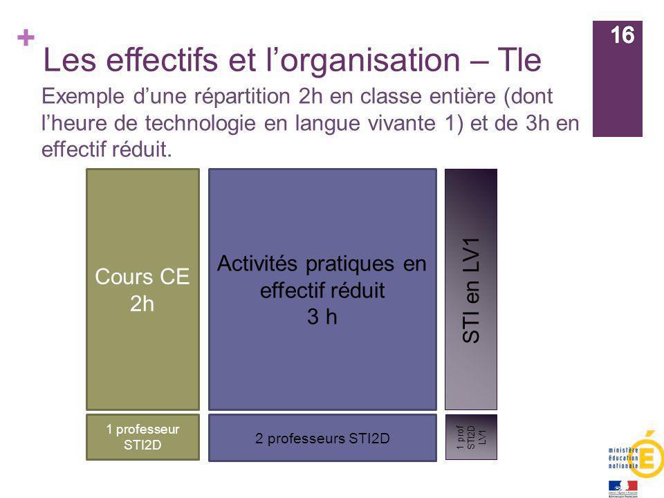 Les effectifs et l'organisation – Tle