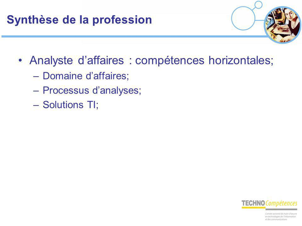 Synthèse de la profession