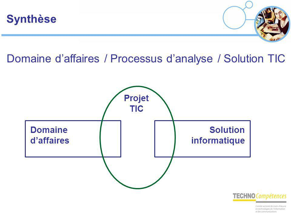 Domaine d'affaires / Processus d'analyse / Solution TIC