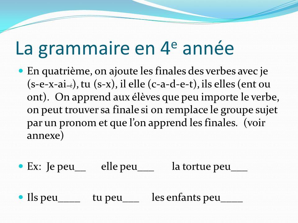 La grammaire en 4e année