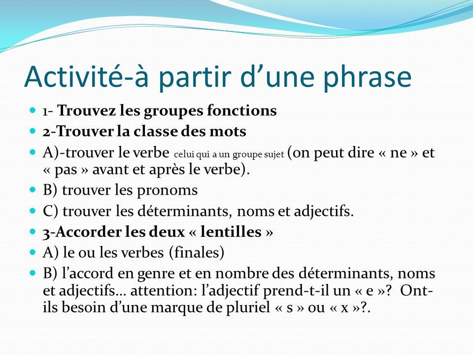 Activité-à partir d'une phrase