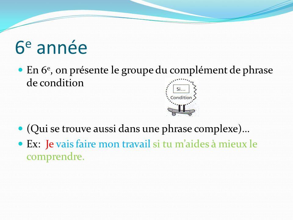 6e année En 6e, on présente le groupe du complément de phrase de condition. (Qui se trouve aussi dans une phrase complexe)…
