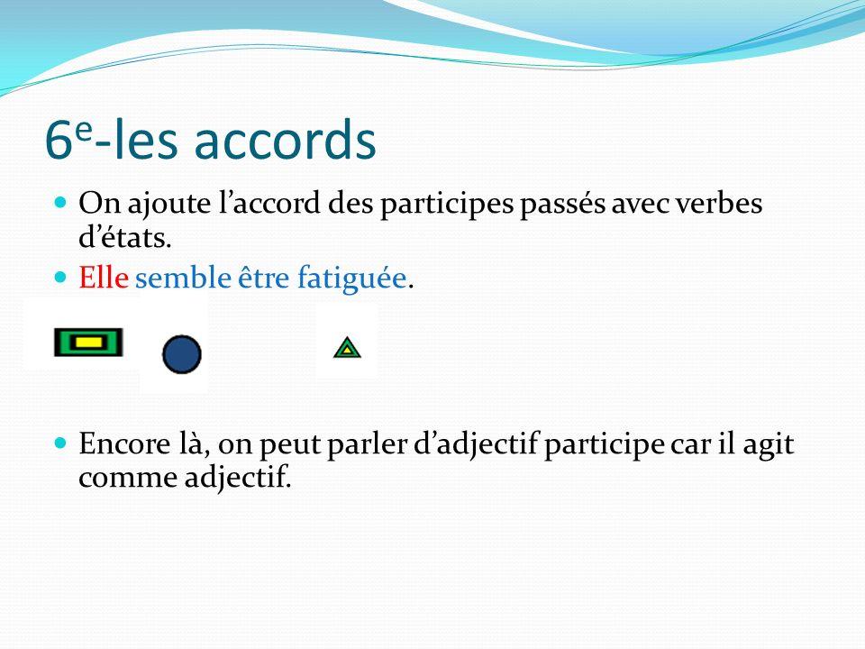 6e-les accords On ajoute l'accord des participes passés avec verbes d'états. Elle semble être fatiguée.