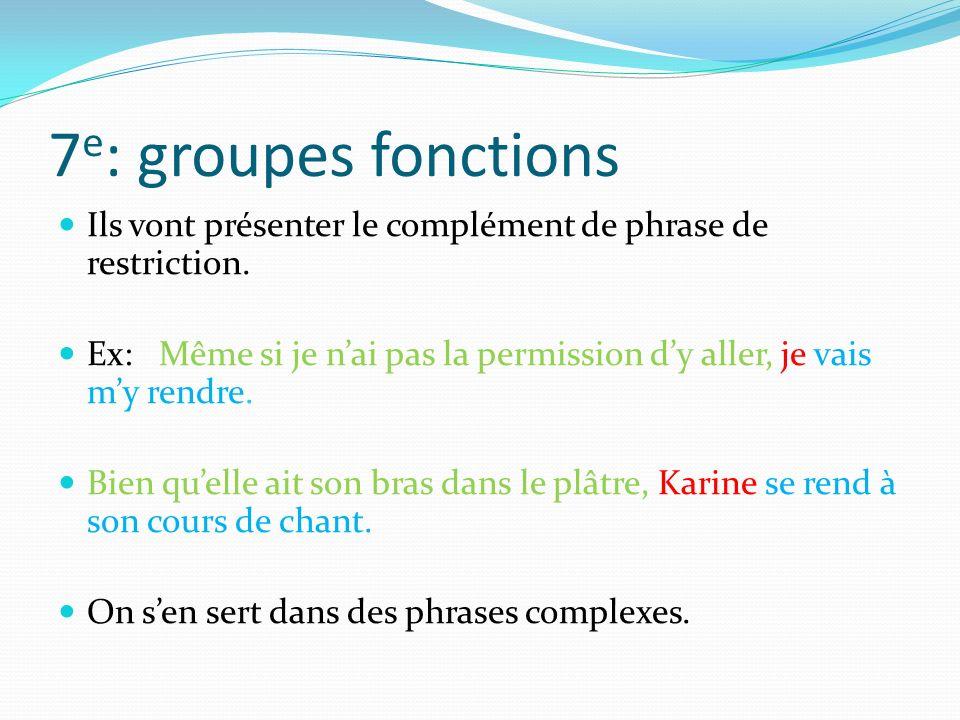 7e: groupes fonctions Ils vont présenter le complément de phrase de restriction.