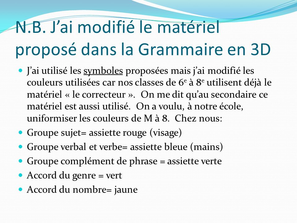 N.B. J'ai modifié le matériel proposé dans la Grammaire en 3D