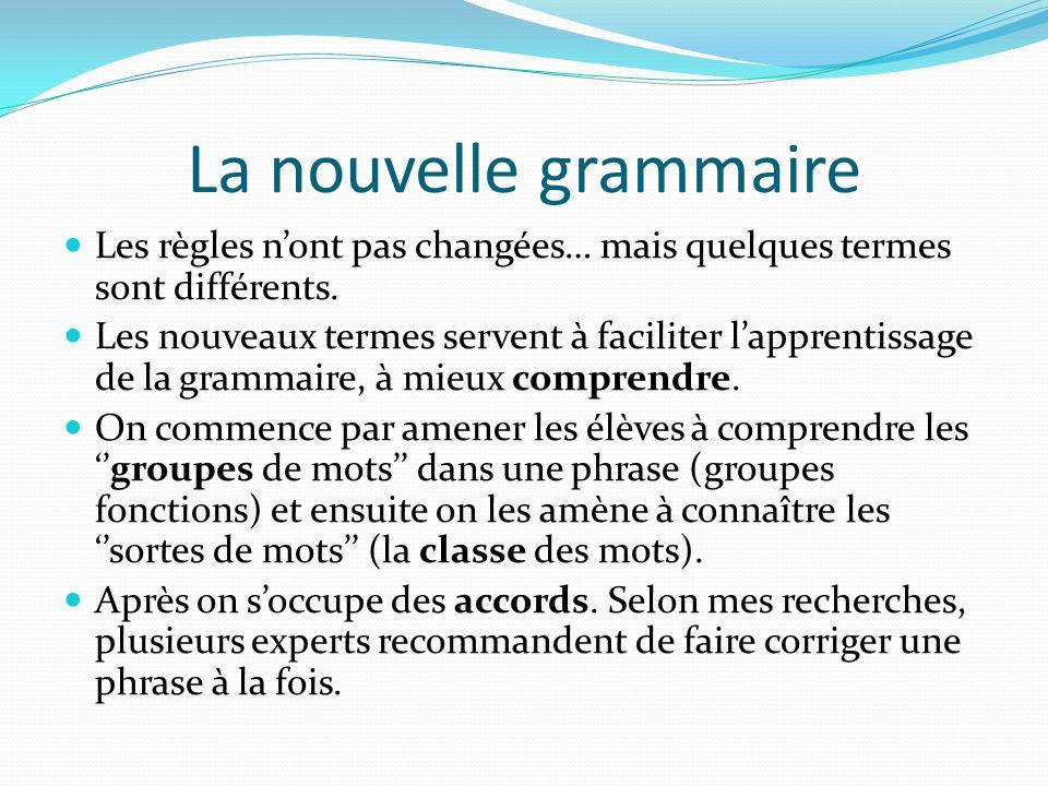La nouvelle grammaire Les règles n'ont pas changées… mais quelques termes sont différents.