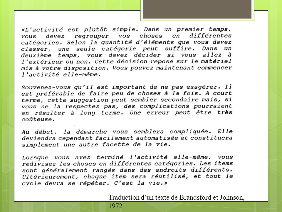Traduction d'un texte de Brandsford et Johnson, 1972
