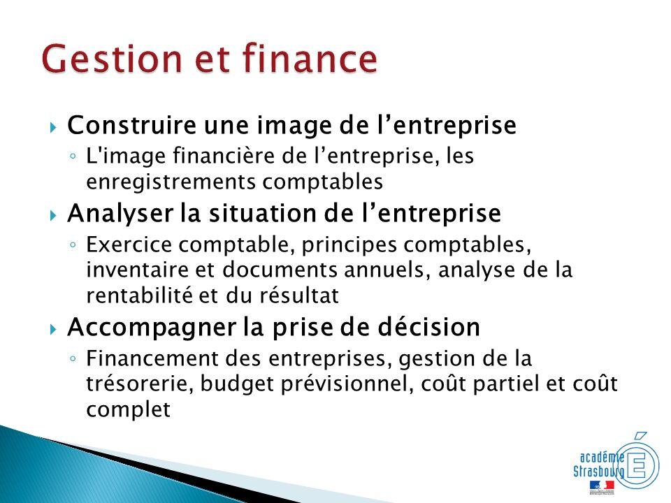 Gestion et finance Construire une image de l'entreprise