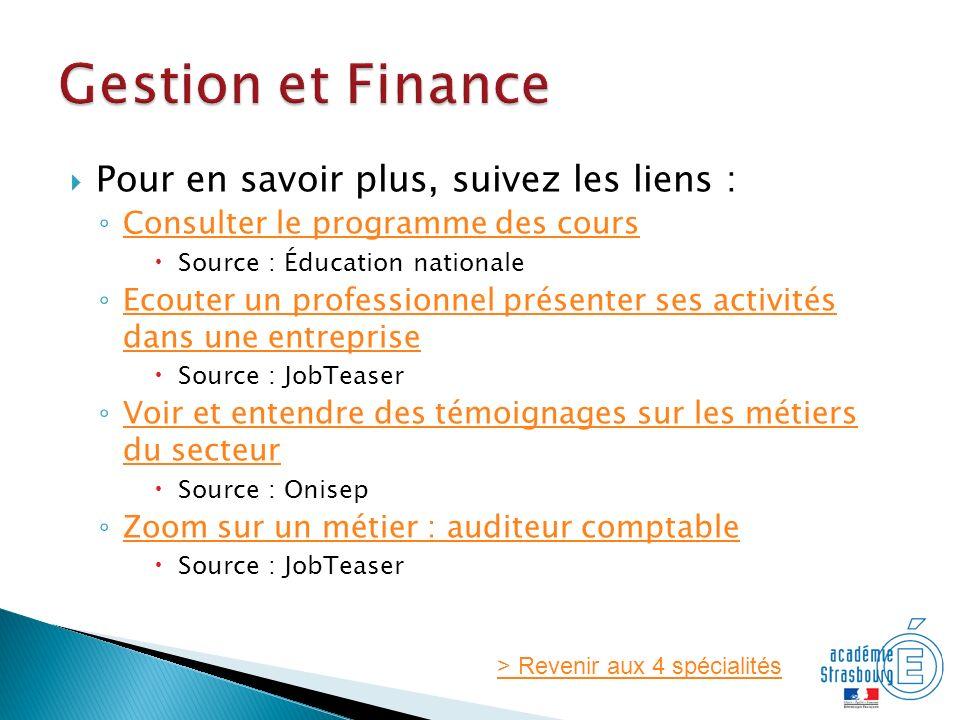 Gestion et Finance Pour en savoir plus, suivez les liens :