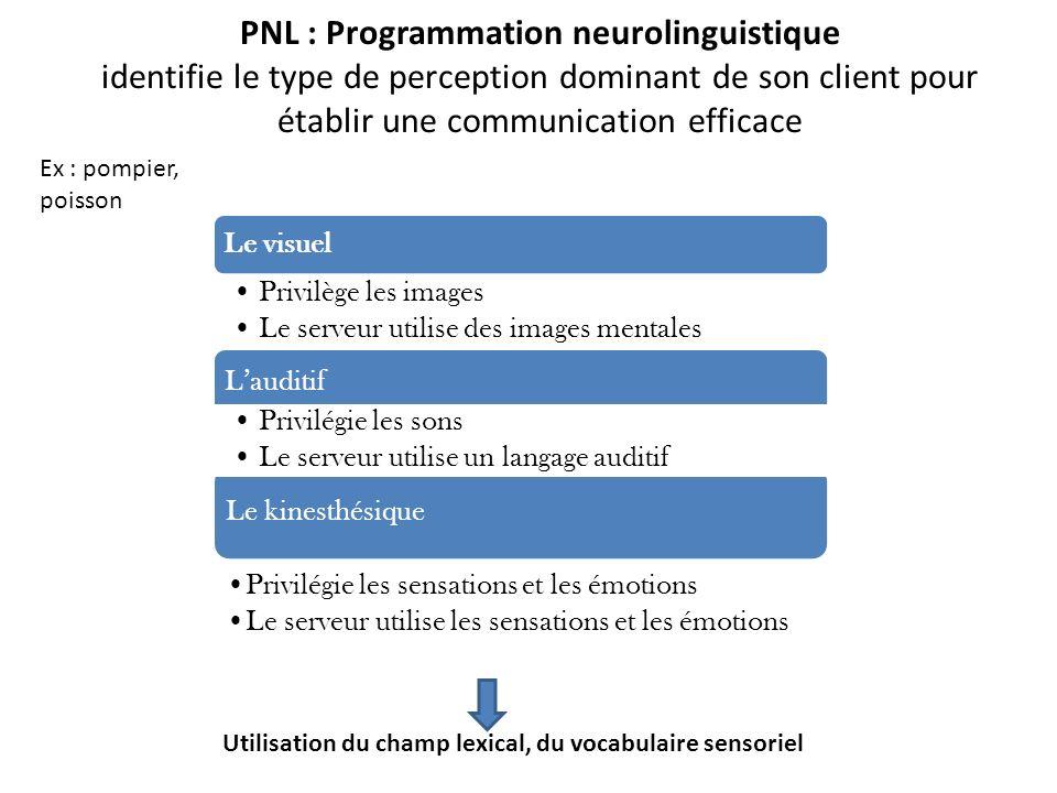 PNL : Programmation neurolinguistique identifie le type de perception dominant de son client pour établir une communication efficace