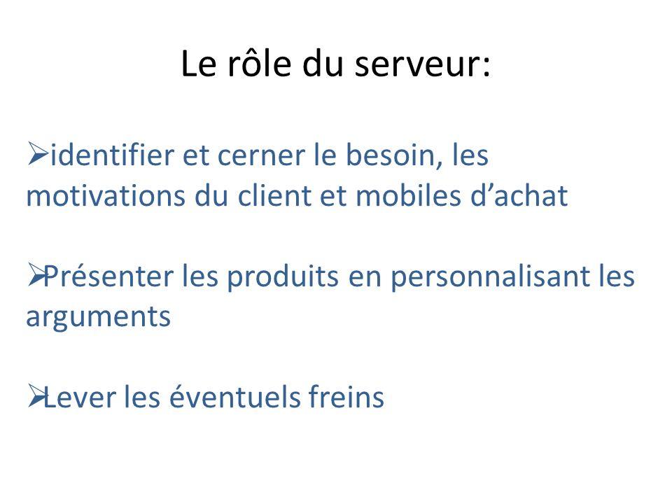 Le rôle du serveur:identifier et cerner le besoin, les motivations du client et mobiles d'achat.