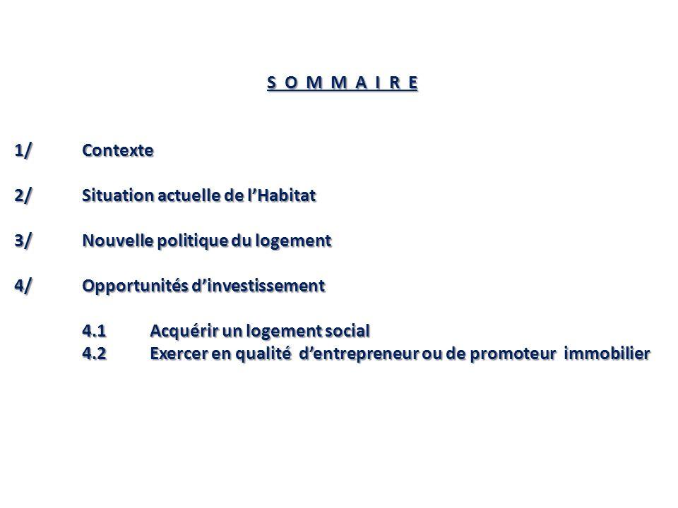 S O M M A I R E 1/ Contexte. 2/ Situation actuelle de l'Habitat. 3/ Nouvelle politique du logement.