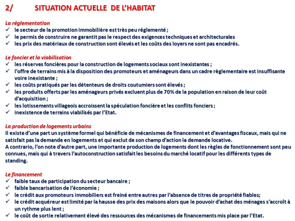 2/ SITUATION ACTUELLE DE L'HABITAT