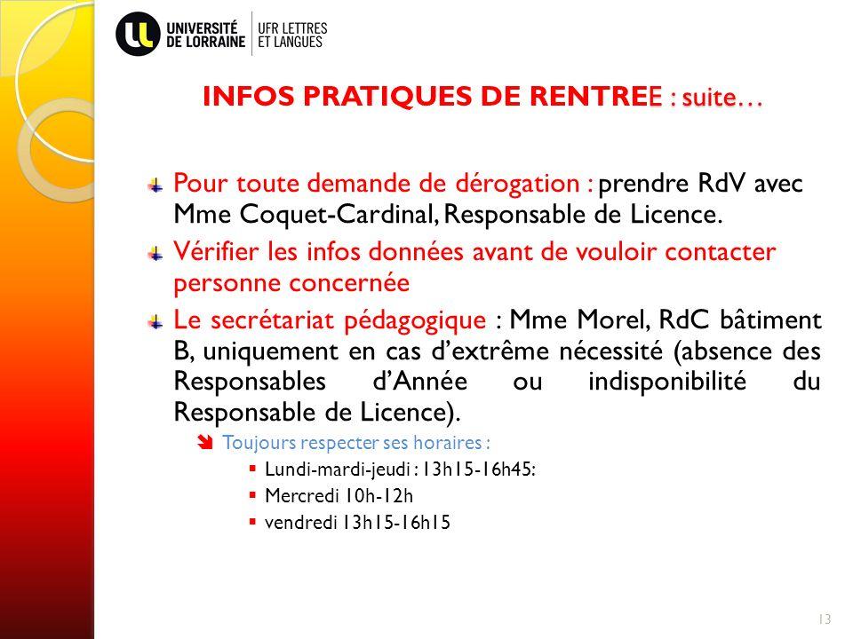 INFOS PRATIQUES DE RENTREE : suite…