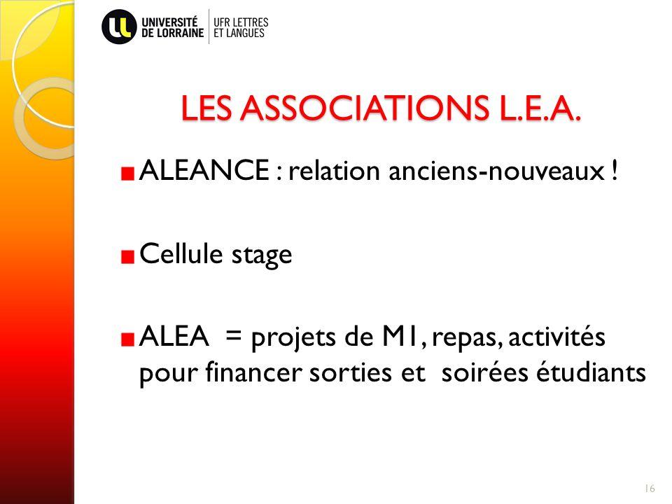 LES ASSOCIATIONS L.E.A. ALEANCE : relation anciens-nouveaux !