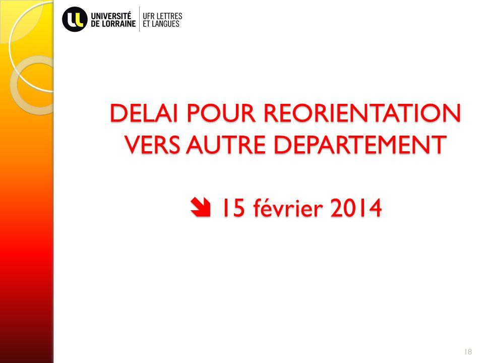 DELAI POUR REORIENTATION VERS AUTRE DEPARTEMENT  15 février 2014