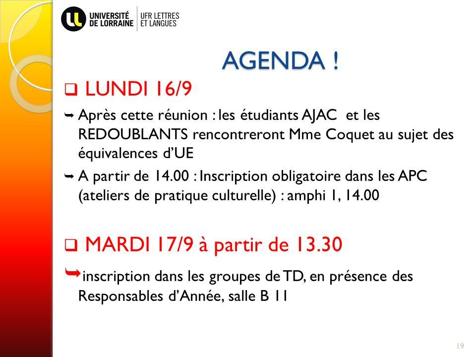 AGENDA ! LUNDI 16/9 MARDI 17/9 à partir de 13.30