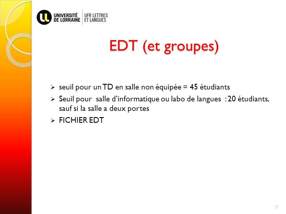 EDT (et groupes) seuil pour un TD en salle non équipée = 45 étudiants