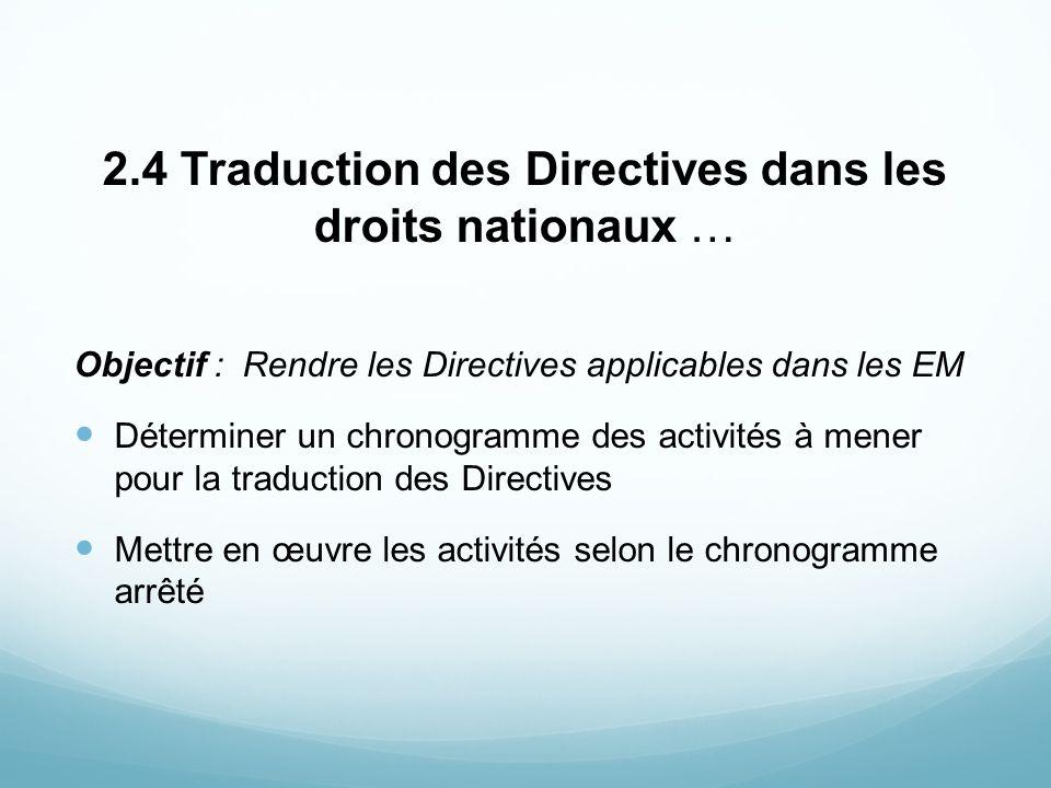 2.4 Traduction des Directives dans les droits nationaux …