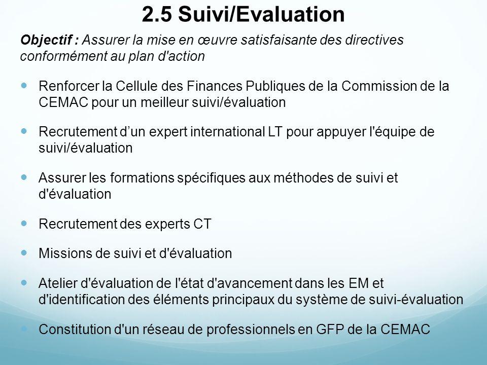 2.5 Suivi/Evaluation Objectif : Assurer la mise en œuvre satisfaisante des directives conformément au plan d action.
