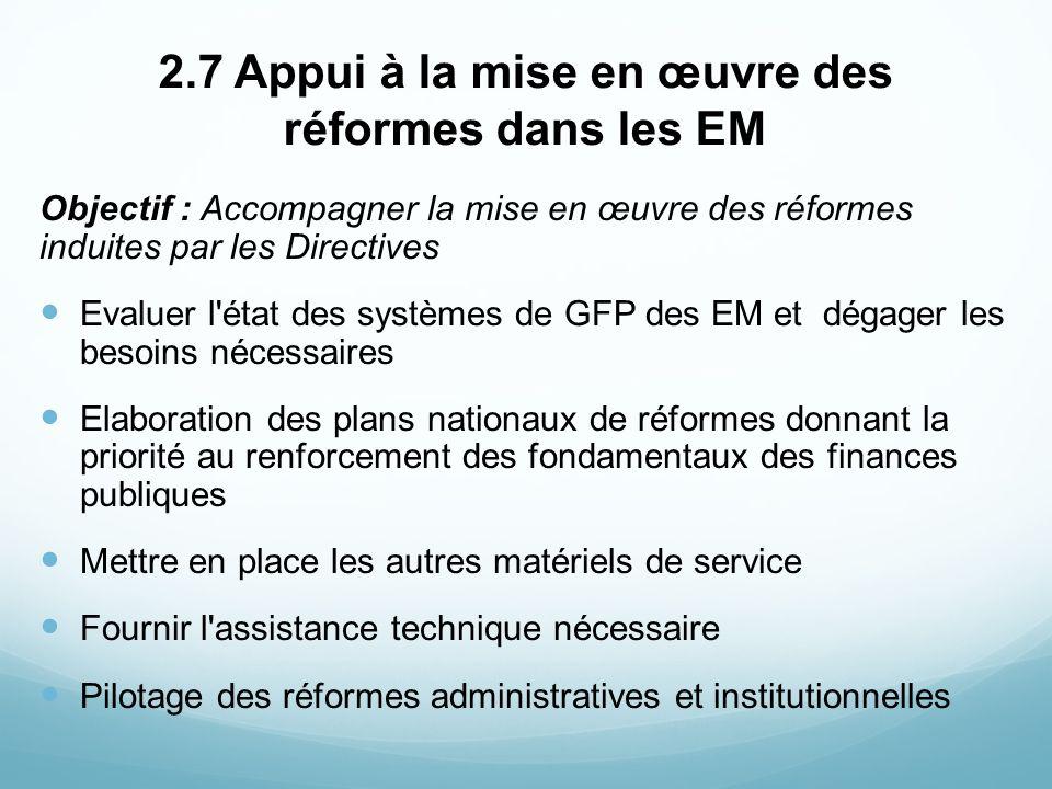 2.7 Appui à la mise en œuvre des réformes dans les EM