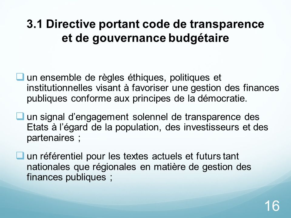 3.1 Directive portant code de transparence et de gouvernance budgétaire
