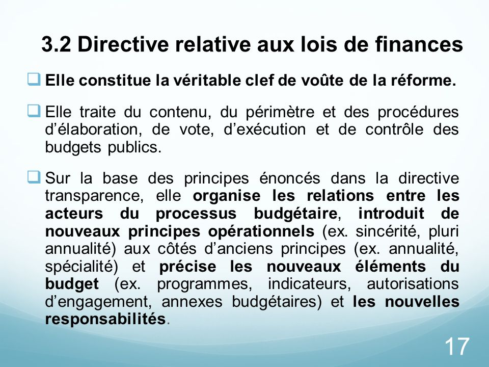 3.2 Directive relative aux lois de finances