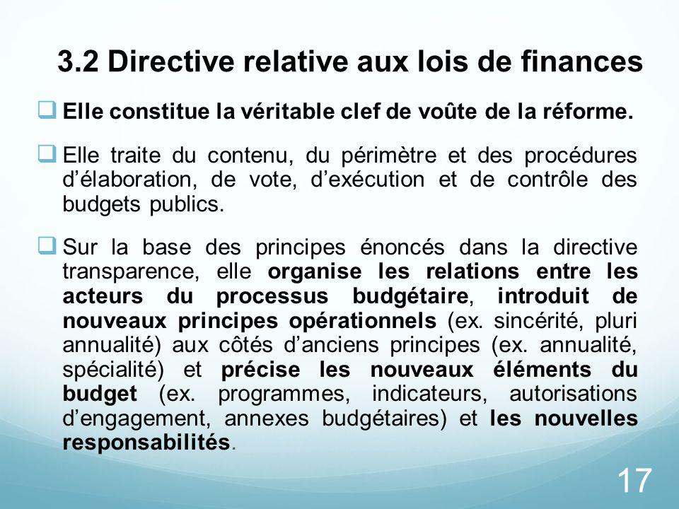 3.2 Directive relative aux lois de finances
