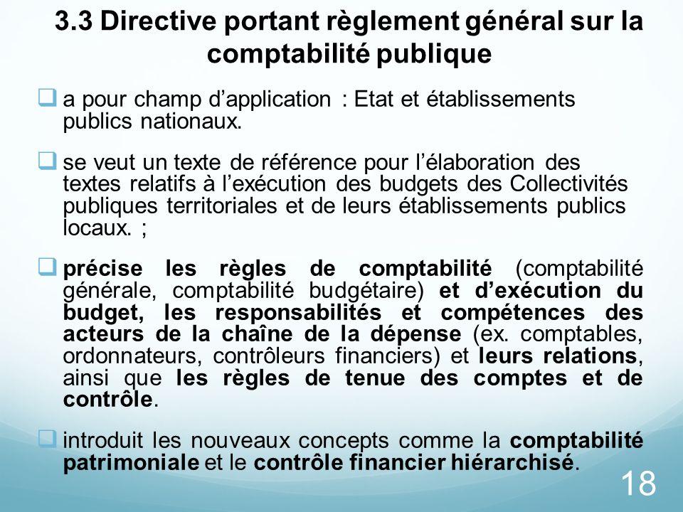 3.3 Directive portant règlement général sur la comptabilité publique
