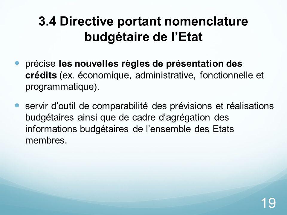 3.4 Directive portant nomenclature budgétaire de l'Etat