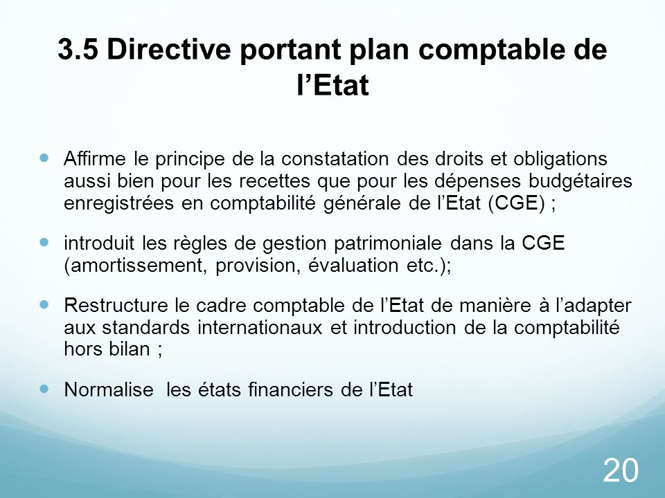 3.5 Directive portant plan comptable de l'Etat