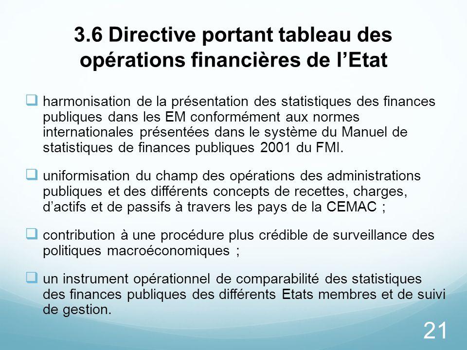 3.6 Directive portant tableau des opérations financières de l'Etat