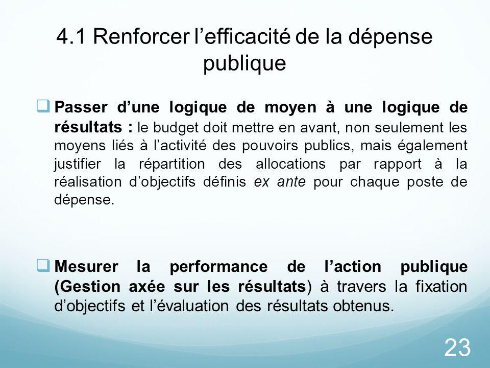 4.1 Renforcer l'efficacité de la dépense publique