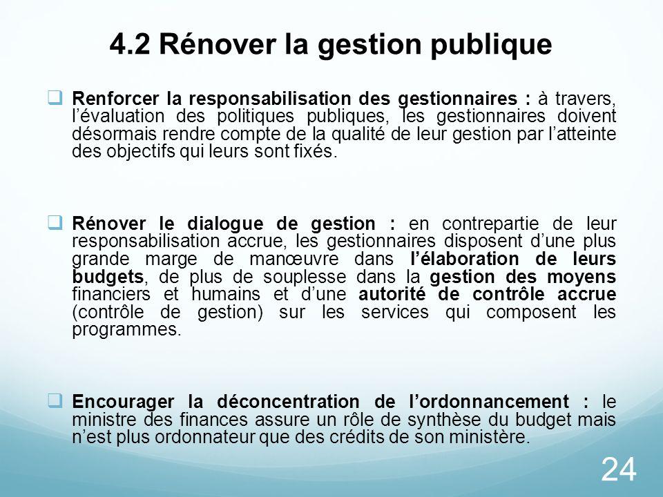 4.2 Rénover la gestion publique